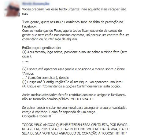 Procedimento do Facebook