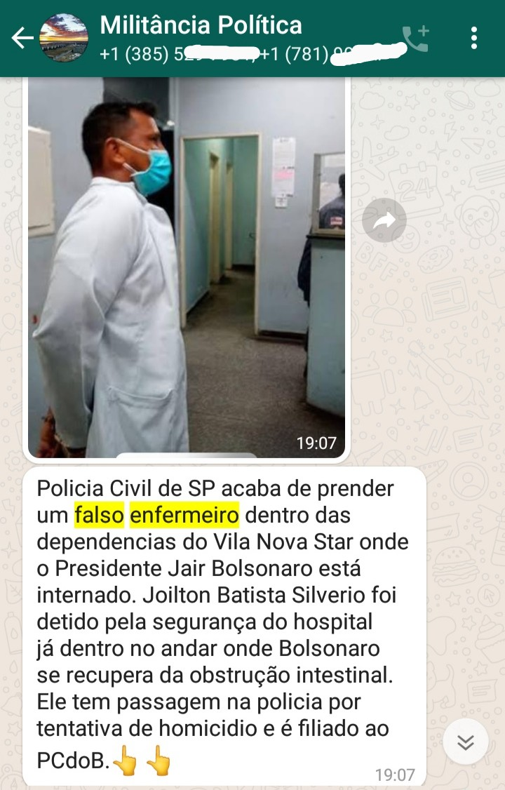A polícia prendeu um falso enfermeiro dentro do hospital onde o presidente estava internado?