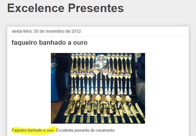 """Faqueiro de ouro é, de 2012 e é """"apenas"""" banhado! (foto: Reprodução/Excelentes Presentes)"""