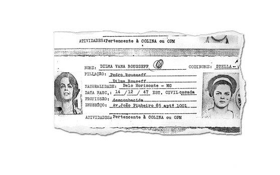 """Ficha policial da """"subversiva"""" Dilma Rousseff! (reprodução)"""