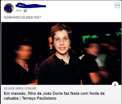O filho do governador João Dória deu festa para 200 convidados em plena quarentena?