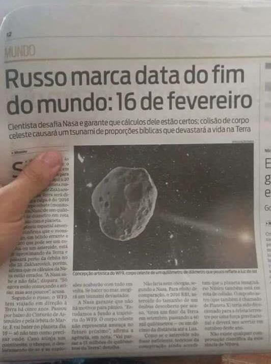 Cientista russo calculou que data do fim do mundo será 16 de fevereiro?