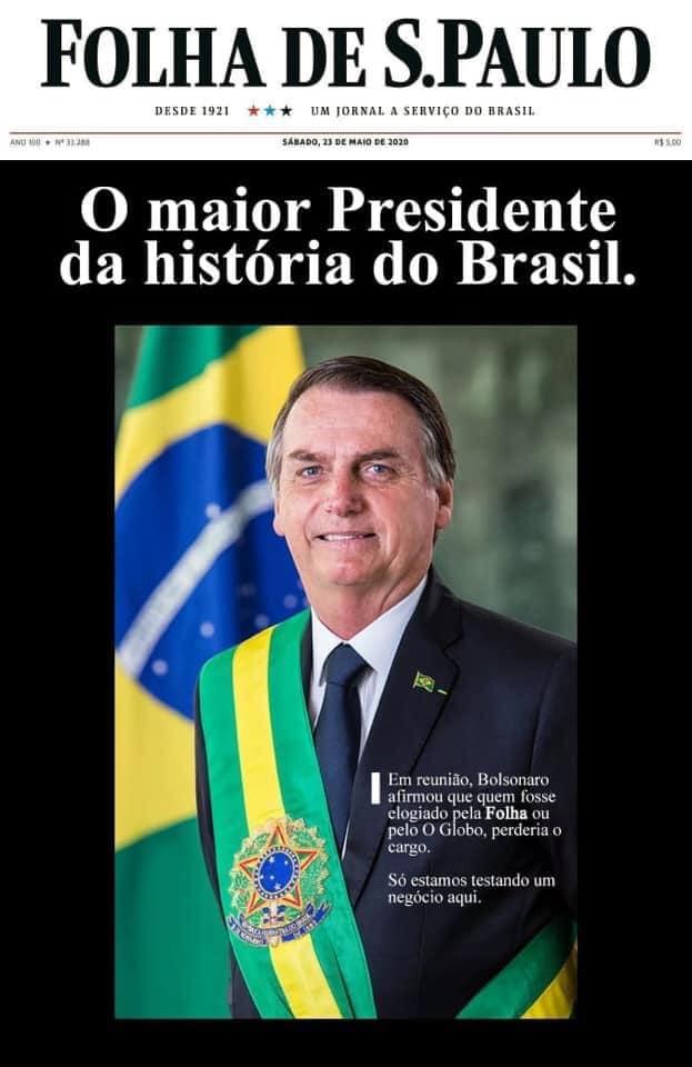 Capa da Folha de São Paulo de 23/05/2020 elogiou o presidente Jair Bolsonaro?