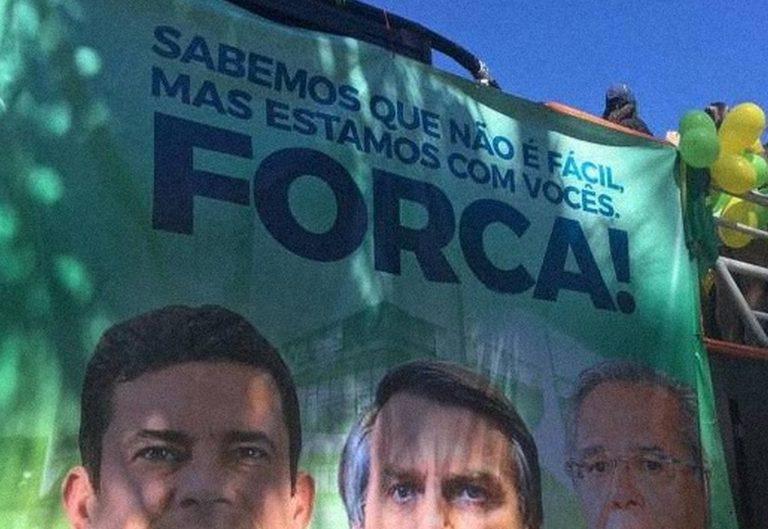 """Banner com a palavra """"Forca"""" foi utilizado por manifestantes pró-Bolsonaro?"""