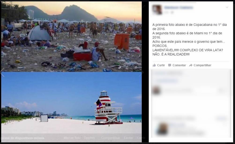Postagem compara passagem de ano no Rio de Janeiro e em Miami! Será verdade? (foto: Reprodução/Facebook)
