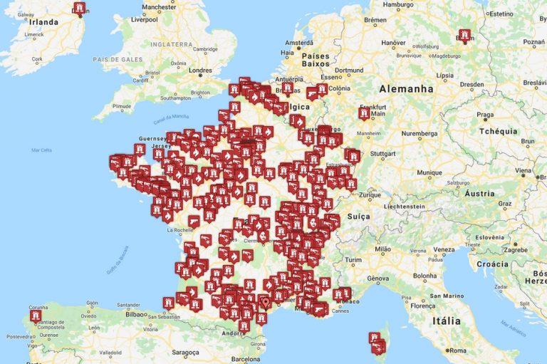 Mapa mostra ataques a igrejas católicas nos últimos 4 anos, na França?