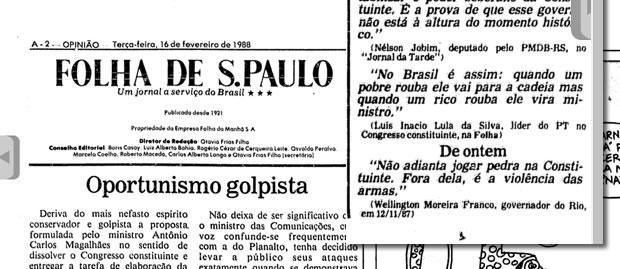 Recorte do jornal Folha de São Paulo do dia 16 de fevereiro de 1988, pg. 2!