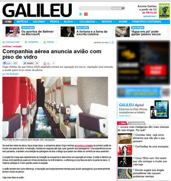 Reprodução da notícia publicada no blog de revista Galileu (imagem retirada do cache do Google)