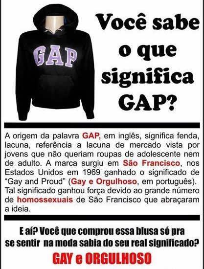 """GAP seria uma sigla para """"gay e orgulhoso""""! Será verdade? (reprodução/Facebook)"""