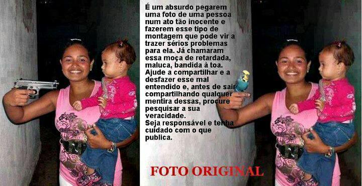Garota apontando uma arma para uma criança, estaria segurando um periquito!