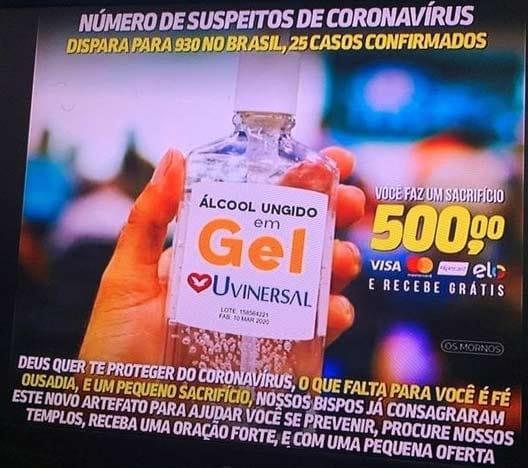 A Igreja Universal está vendendo álcool ungido em gel por R$ 500?