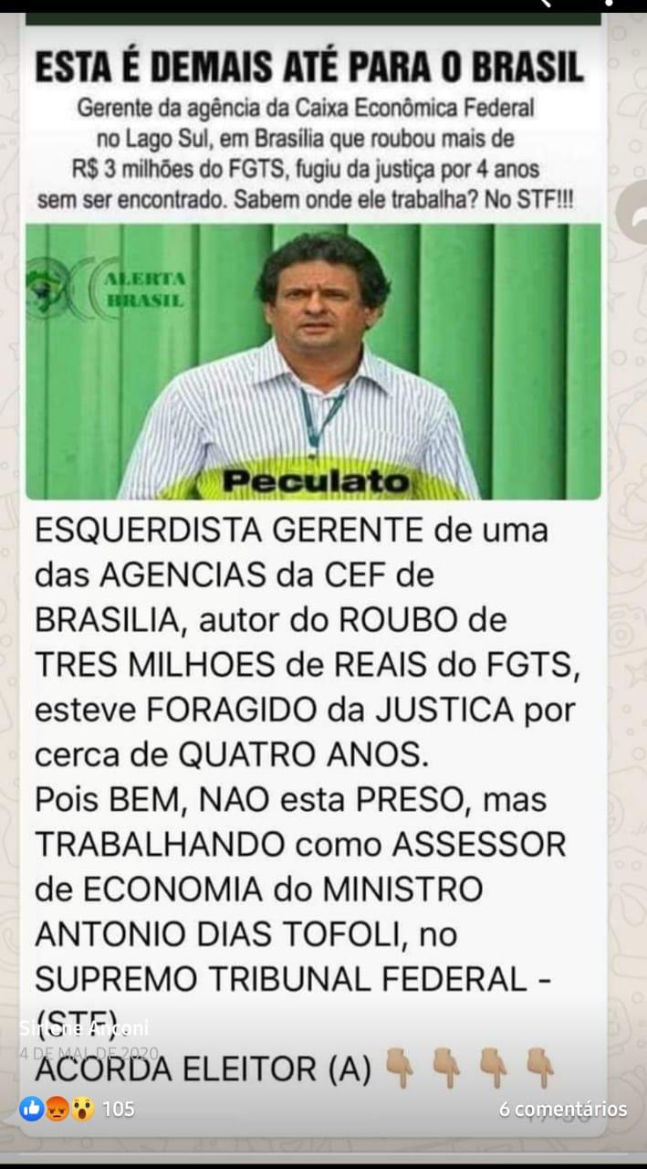 Foragido da Justiça é assessor do ministro do STF Dias Toffoli?
