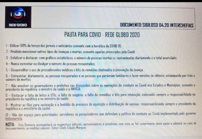 Ex-apresentador vazou documento sigiloso da Globo sobre como a emissora deve tratar a COVID-19?