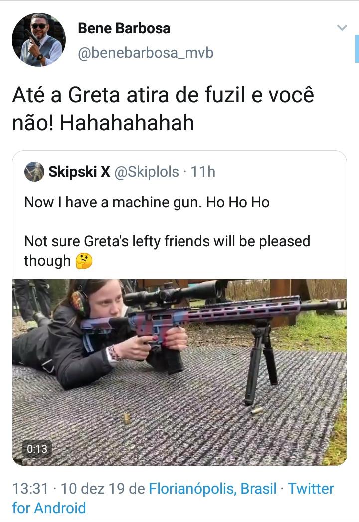Greta Thunberg aparece em vídeo atirando com um fuzil! Será verdade?