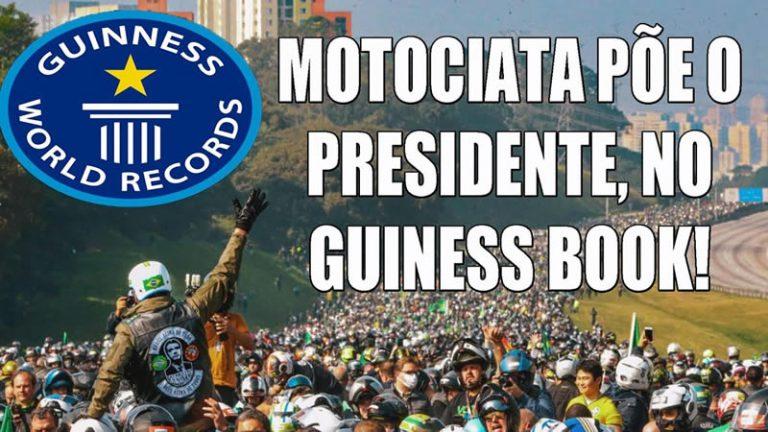 Motociata com a participação de Bolsonaro teve mais de 1 milhão de motos e vai entrar pro Guinness?