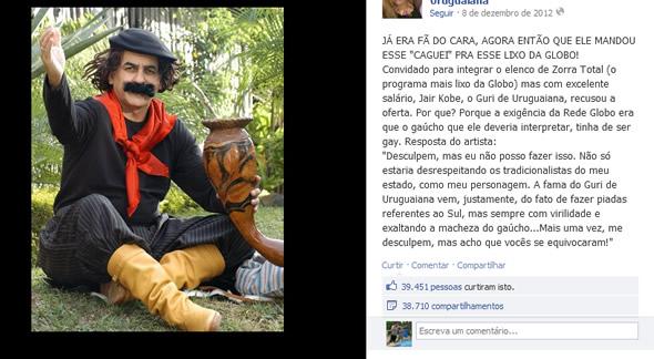 Jair Kobe recusa trabalhar no Zorra Total da Globo