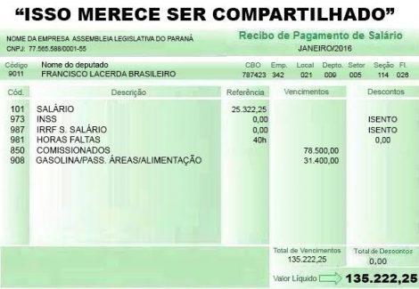 Holerite de deputado vazou e revela que ele ganha R$ 135 mil?
