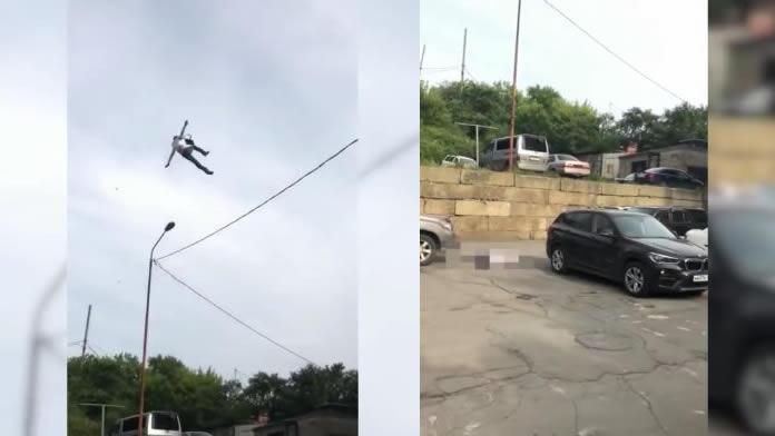 Homem cai do céu em um estacionamento! De onde ele veio?