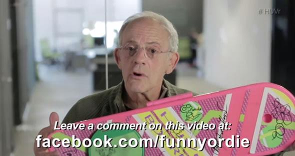 Christopher Lloyd pedindo desculpas pela brincadeira do hoverboard! (foto: Reprodução/Funny or Die)