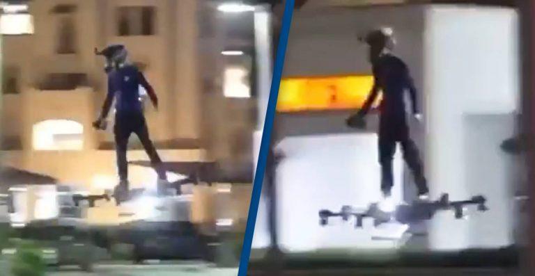 Será que o vídeo de um homem em um skate voador em uma avenida é real?