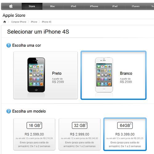 Screen Shot do site da Apple Store