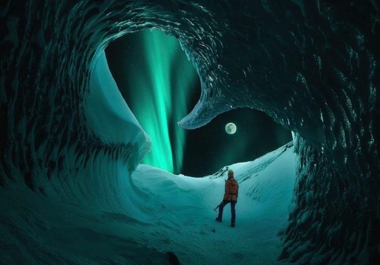 Foto de Aurora Boreal vista de uma caverna na Islândia é verdadeira ou falsa?
