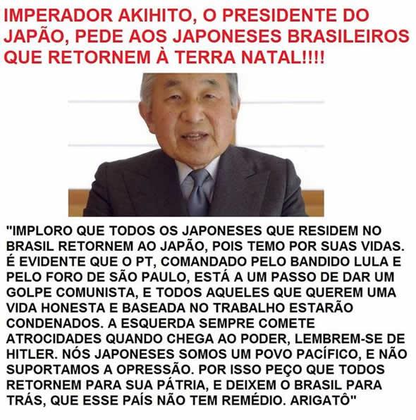 Imperador do Japão teria implorado a todos os japoneses que estão no Brasil para que voltem para o Japão!