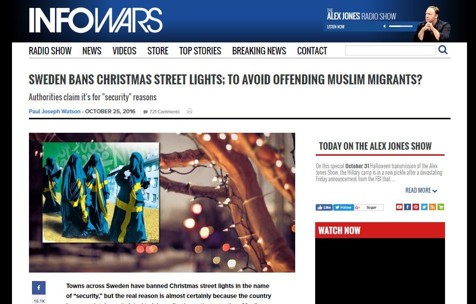 Reprodução da reportagem publicada no site InfoWars!