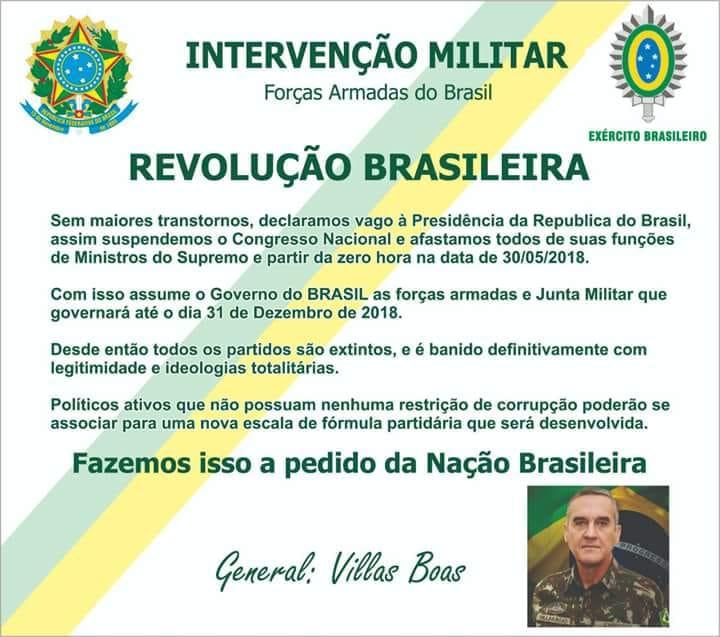 O General Villas Bôas decretou intervenção militar no Brasil?