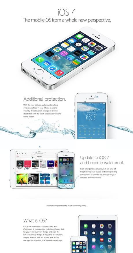 Anúncio sobre a nova funcionalidade do iOS7 que transformaria o iPhone em um aparelho impermeável!