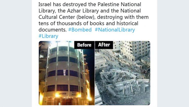 Israel bombardeou recentemente bibliotecas e um centro cultural na Palestina?
