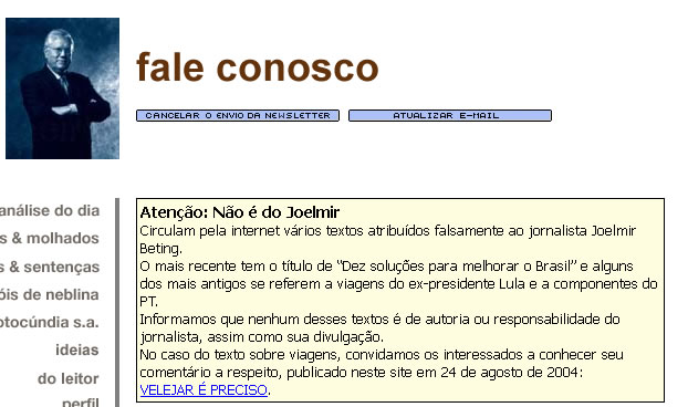 Aviso no site do Joelmir Beting