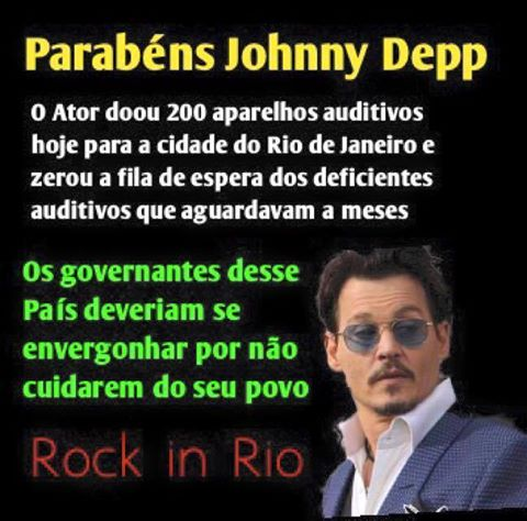 Johnny Depp teria dito que se envergonha dos nossos governantes. Será verdade? (foto: Reprodução/Facebook)