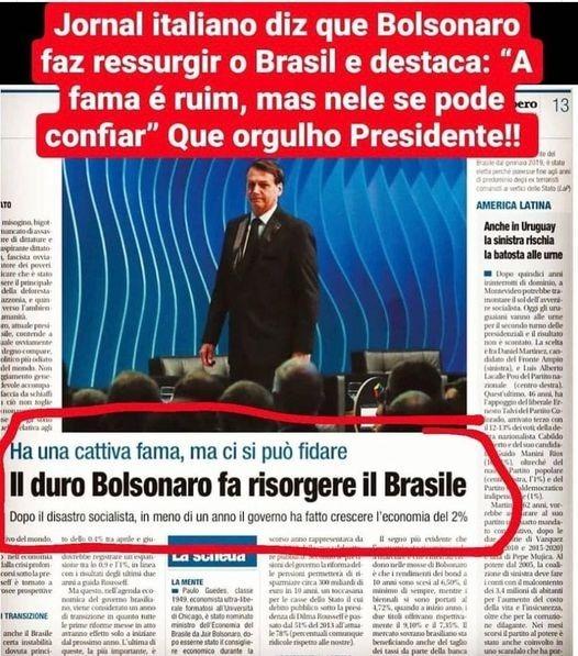 Jornal italiano disse que Bolsonaro fez ressurgir o Brasil?