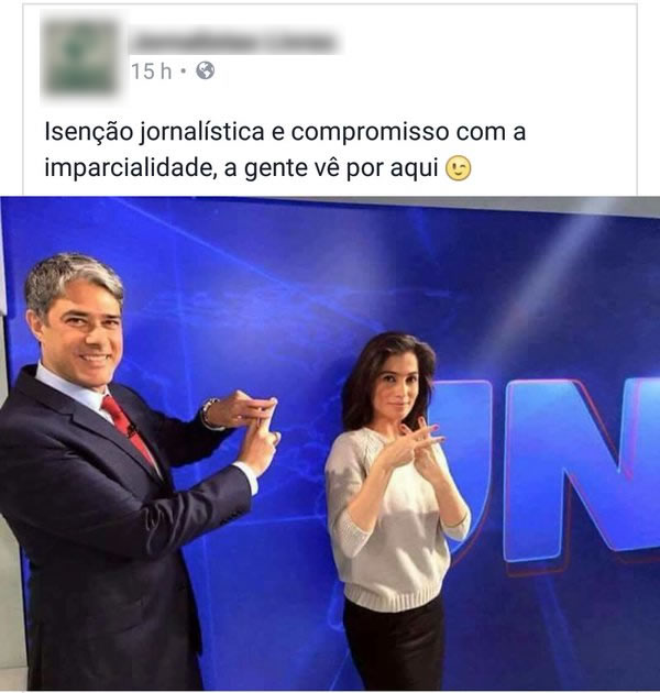 Willian Bonner e Renata Vasconcellos comemoram a possível prisão de Lula e de Dilma! Será verdade? (foto: Reprodução/Twitter)