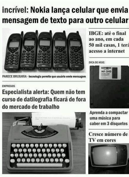 Recorte de jornal mostra manchetes antigas sobre tecnologia! Verdadeiro ou falso? (foto: Reprodução/Facebook)