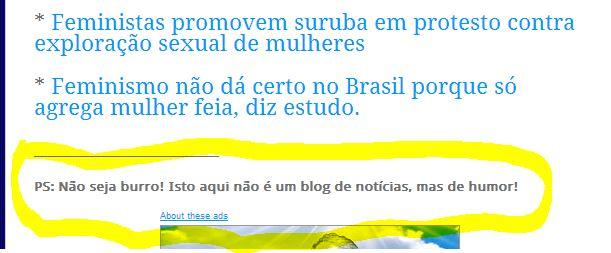 Reprodução do rodapé das matérias publicadas no Joselito Muller avisam que tudo ali não passa de piada!