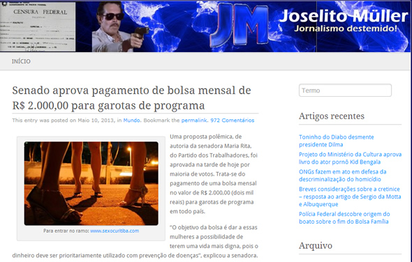 Reprodução da matéria no blog humorístico Joselito Muller