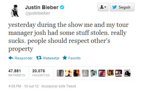 Justin Bieber reclama no Twitter sobre o roubo de seu Laptop! (reprodução)