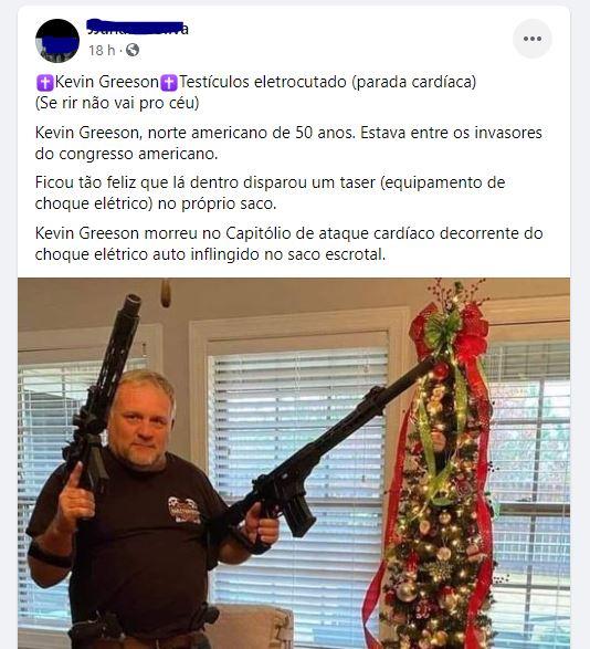 Kevin Greeson morreu após choque nos testículos durante a invasão ao Capitólio?