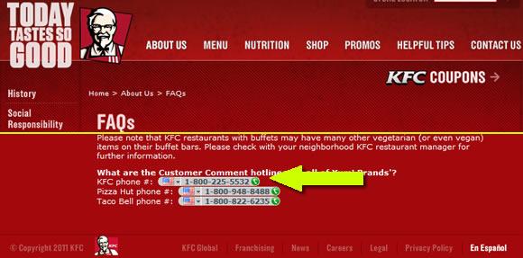 Página de FAQ da KFC