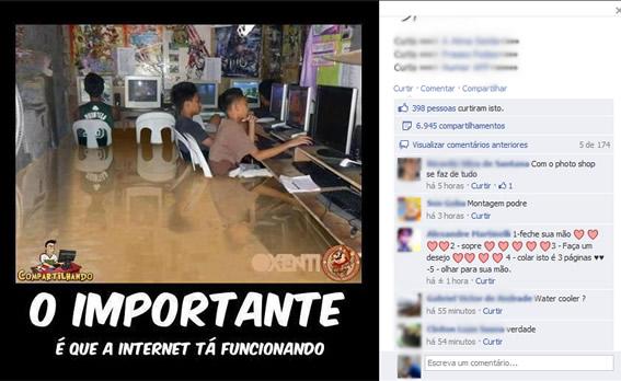 O importante é que a internet tá funcionando! (foto: Reprodução/Facebook)
