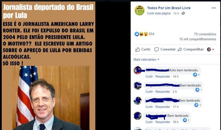 Lula expulsou o jornalista Larry Rohter por ele publicar que o presidente era alcoólatra?