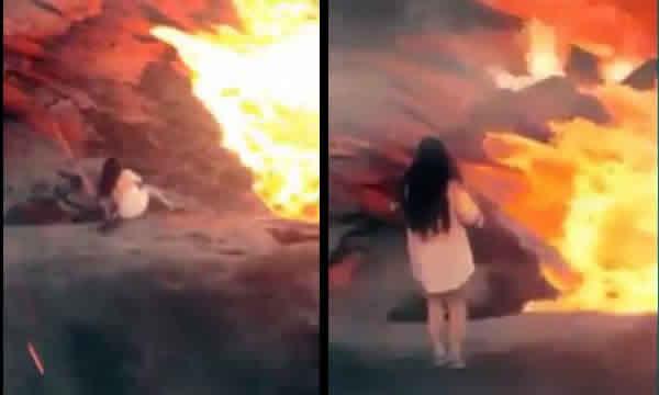 Moça escorrega e morre queimada na lava! Será verdade?