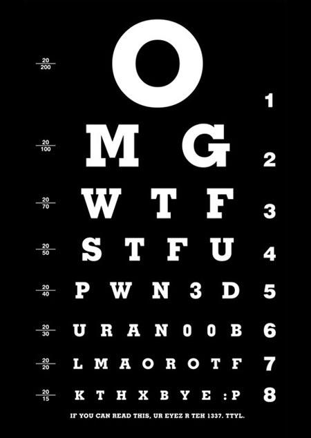 Teste de visão com as letras formando siglas de palavrões em inglês!