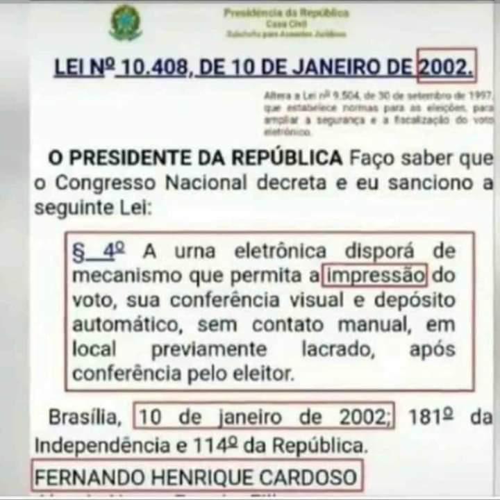 A impressão do voto pela urna eletrônica é uma lei desrespeitada desde 2002?