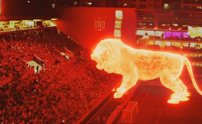 Holograma de um leão gigante foi usado na reinauguração de um estádio na Argentina?