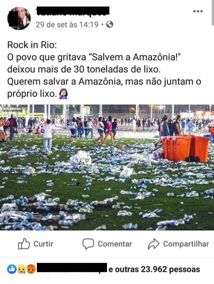 Foto mostra que o público do Rock in Rio 2019 deixou toneladas de lixo! Será verdade?