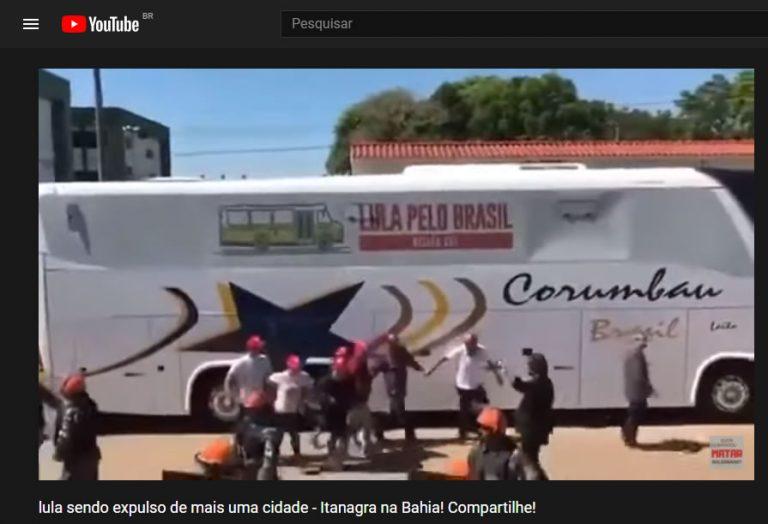 O ônibus com a comitiva do Lula acabou de ser expulso pelo povo de Itanagra, na Bahia?