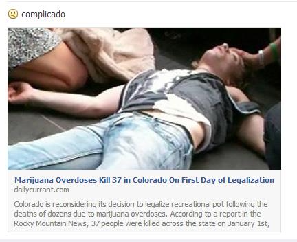 Primeiro dia de liberação da maconha deixa 37 mortos no estado do Colorado! Verdadeiro ou falso? (foto: Reprodução/Facebook)